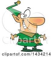 Clipart Of A Cartoon Happy Christmas Elf In A Green Suit Royalty Free Vector Illustration