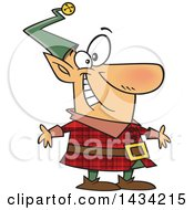 Clipart Of A Cartoon Happy Christmas Elf In A Red Plaid Suit Royalty Free Vector Illustration