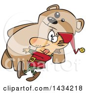 Clipart Of A Cartoon Christmas Elf Carrying A Giant Teddy Bear Royalty Free Vector Illustration