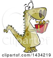 Clipart Of A Cartoon Thoughtful T Rex Dinosaur Holding Out A Christmas Gift Royalty Free Vector Illustration