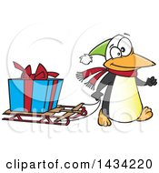 Clipart Of A Cartoon Festive Penguin Pulling A Christmas Present On A Sled Royalty Free Vector Illustration