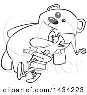Clipart Of A Cartoon Black And White Lineart Christmas Elf Carrying A Giant Teddy Bear Royalty Free Vector Illustration