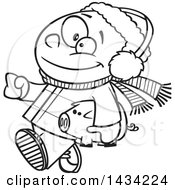 Cartoon Black And White Lineart Happy African Boy In Winter Clothes Carrying His Piggy Bank To Go Christmas Shopping