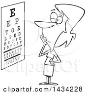 Cartoon Black And White Lineart Woman Trying To Read An Eye Chart