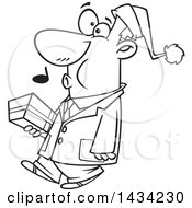 Clipart Of A Cartoon Black And White Lineart Man Wearing A Santa Hat Whistling And Carrying A Christmas Gift Royalty Free Vector Illustration