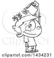 Clipart Of A Cartoon Black And White Lineart Little Boy Watering His Mind Flowers With A Can Royalty Free Vector Illustration