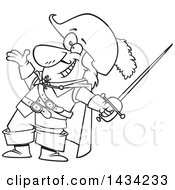 Clipart Of A Cartoon Black And White Lineart Musketeer Presenting And Holding A Sword Royalty Free Vector Illustration by toonaday