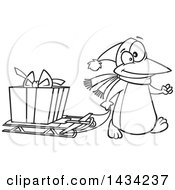 Clipart Of A Cartoon Black And White Lineart Festive Penguin Pulling A Christmas Present On A Sled Royalty Free Vector Illustration