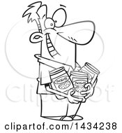 Clipart Of A Cartoon Black And White Lineart Happy Man Holding Jars Of Pickles Royalty Free Vector Illustration