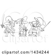 Clipart Of A Cartoon Black And White Lineart Group Of The Three Musketeers Royalty Free Vector Illustration by toonaday