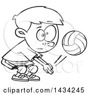 Cartoon Black And White Lineart Little Boy Playing Volleyball