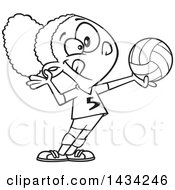 Cartoon Lineart Athletic Black Girl Serving A Volleyball