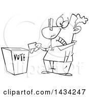 Cartoon Black And White Lineart Man With A Clip On His Nose Casting His Vote