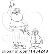 Cartoon Black And White Lineart Christmas Santa Claus Holding A Boys Hand And Waving