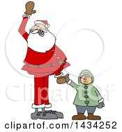 Cartoon Christmas Santa Claus Holding A White Boys Hand And Waving