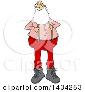 Cartoon Christmas Santa Claus Pulling On His Suspenders