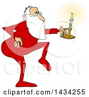 Cartoon Christmas Santa Claus Tip Toeing In His Pajamas Holding A Candlestick