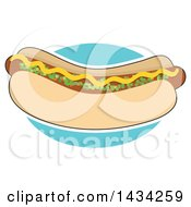 Clipart Of A Cartoon Hot Dog In A Bun Topped With Mustard And Relish Outlined In White Over A Blue Circle Royalty Free Vector Illustration by Maria Bell