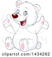 Clipart Of A Cute Happy White Teddy Bear Sitting And Cheering Royalty Free Vector Illustration