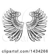 Black And White Pair Of Feathered Wings In Woodcut Style