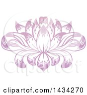 Clipart Of A Beautiful Pink Purple Water Lily Lotus Flower Royalty Free Vector Illustration by AtStockIllustration