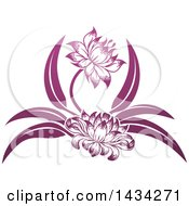 Clipart Of Beautiful Gradient Purple Water Lily Lotus Flowers Royalty Free Vector Illustration