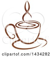 Clipart Of A Brown Steamy Coffee Cup On A Saucer Royalty Free Vector Illustration