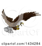 Clipart Of A Swooping Bald Eagle With Talons Extended Royalty Free Vector Illustration by AtStockIllustration