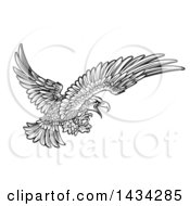 Woodcut Black And White Eagle Swooping With Talons Extended