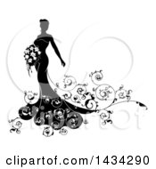 Clipart Of A Silhouetted Black And White Bride Posing In A Wedding Gown With A Bouquet Royalty Free Vector Illustration