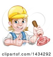 Clipart Of A Cartoon Happy White Female Plumber Wearing A Hard Hat Pointing And Holding A Plunger Royalty Free Vector Illustration