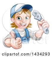 Cartoon Happy White Female Plumber Holding An Adjustable Wrench And Giving A Thumb Up