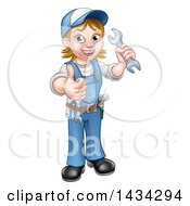 Clipart Of A Cartoon Full Length Happy White Female Mechanic Wearing A Hard Hat Holding A Spanner Wrench And Giving A Thumb Up Royalty Free Vector Illustration by AtStockIllustration