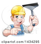 Clipart Of A Cartoon Happy White Male Window Cleaner Wearing A Hard Hat Pointing And Holding A Squeegee Royalty Free Vector Illustration