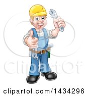 Clipart Of A Cartoon Full Length Happy White Male Plumber Wearing A Hardhat Holding An Adjustable Wrench And Giving A Thumb Up Royalty Free Vector Illustration