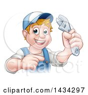 Poster, Art Print Of Cartoon Happy White Male Plumber Holding An Adjustable Wrench And Pointing