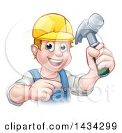 Clipart Of A Cartoon Happy White Male Carpenter Holding A Hammer And Pointing Royalty Free Vector Illustration