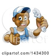 Cartoon Happy Black Male Plumber Holding An Adjustable Wrench And Giving A Thumb Up