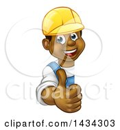 Cartoon Happy Black Male Worker Giving A Thumb Up Around A Sign