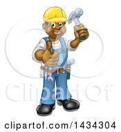 Clipart Of A Cartoon Full Length Happy Black Male Carpenter Holding A Hammer And Giving A Thumb Up Royalty Free Vector Illustration by AtStockIllustration