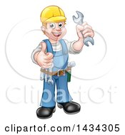 Cartoon Full Length Happy White Male Mechanic Wearing A Hard Hat Holding A Spanner Wrench And Giving A Thumb Up