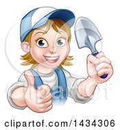 Clipart Of A Cartoon Happy White Female Gardener In Blue Holding A Garden Trowel And Giving A Thumb Up Royalty Free Vector Illustration