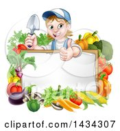 Clipart Of A Cartoon Happy White Female Gardener In Blue Holding A Garden Trowel And Giving A Thumb Up Over A White Sign With Produce Royalty Free Vector Illustration