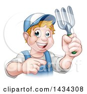 Clipart Of A Cartoon Happy White Male Gardener In Blue Holding A Garden Fork And Pointing Royalty Free Vector Illustration