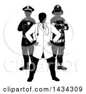 Faceless Black And White Male Doctor Police Man And Fire Fighter