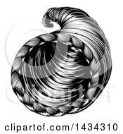 Vintage Black And White Woodcut Cornucopia Horn