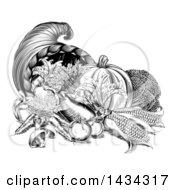 Black And White Woodcut Vintage Horn Of Plenty Cornucopia With Produce