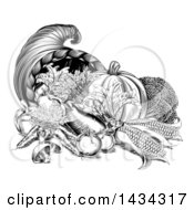 Clipart Of A Black And White Woodcut Vintage Horn Of Plenty Cornucopia With Produce Royalty Free Vector Illustration