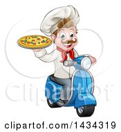 Clipart Of A Cartoon Happy White Male Chef Holding A Pizza On A Scooter Royalty Free Vector Illustration