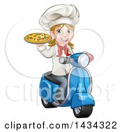 Clipart Of A Cartoon Happy White Female Chef Holding A Pizza On A Scooter Royalty Free Vector Illustration by AtStockIllustration